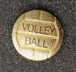 Vintage Volleyball Player Hat Lapel Pin. Embossed Gold Tone Figural Metal Ball