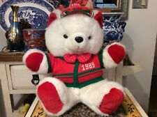 1989 White Christmas Teddy Bear With Hat & Scarf & vest (K-Mart Co,1986 tag)