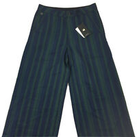 G-Star Womens Bronson High Wide Leg Chino Pants Blue Green Stripe W24 L32 NEW