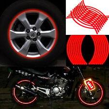 18 Bandes Auto Moto Roue Pneu Autocollants Réflective Protectrice De Jante Rouge