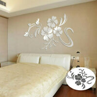 Room Floral Decal Art Wall Removable Acrylic Sticker Mural Home Mirror 3D Decor