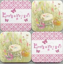 Longaberger Horizon of Hope Logo w Pink Ribbons Butterfies Flowers 4 Coaster Set