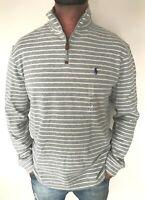 Polo Ralph Lauren Mens Designer Half Zip Cotton Stripe Jumper Sweater L