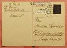 DR WHO 1946 GERMANY OVERPRINT POSTAL CARD WORMS CANCEL 158572