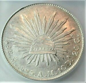 1895-Mo,AM Mexico Silver 8 Reales certified ICG MS 61 Condition KM# 377.10 (909)