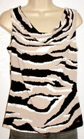 Calvin Klein Women's Sleeveless Silky Taupe & Black Print Tank Top Size Small