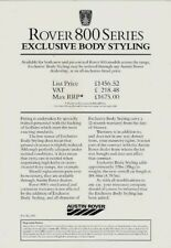 Rover 800-Series Body Styling Kit Price List 1986-87 UK Single Sheet Brochure