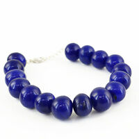 148.30 CTS EARTH MINED ROUND SHAPED FACETED RICH BLUE SAPPHIRE BEADS BRACELET