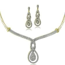 0.50ct TDW Diamond Intertwining Infinity Omega Necklace & Earrings Set - Gold To
