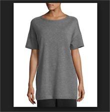 e1c946e0848 NWT Eileen Fisher Short Sleeve Italian 100% Cashmere Tunic Top Ash L $378