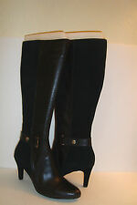 Ellen Tracy Womens NWOB Crush Black Leather Suede Boots Shoes 9.5 MED NEW