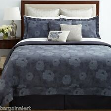 CHARISMA AMELIA 7pc FLORAL NAVY BLUE ROSES FULL QUEEN DUVET COVER ~ $1130