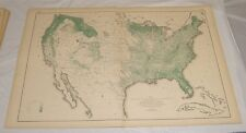1874 Antique Map of DISTRIBUTION OF WOODLANDS IN THE UNITED STATES/21x31