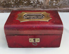 SMALL VICTORIAN STYLE LEATHER EFFECT JEWELLERY BOX & KEY NO TRAY CONDITION A / F