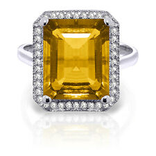 5.8 CTW Platinum Plated 925 Sterling Silver Isabella Citrine Diamond Ring