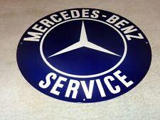 "VINTAGE MERCEDES BENZ GERMAN LUXURY CAR SERVICE 11 3/4"" METAL GASOLINE OIL SIGN!"
