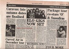 ELO CARAVAN CURVED AIR news 1975 UK ARTICLE / clipping