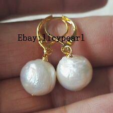 Weiß Edison Barock Perlen Ohrringe, 10-11 mm Perlen Ohrringe