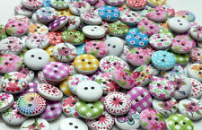 50X15mm WOODEN ROUND BUTTONS RANDOM MIX CRAFT SEWING SCRAPBOOKING EMBELISHMENTS