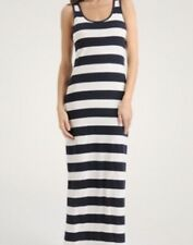 FOREVER 21 Maxi Dress Size S Navy Blue White Bold Striped Racer Back Nautical