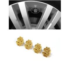 1Set Car Gold Money Dollars $ Logo Sign Wheel Tire Valve Stem Dust Caps Cover