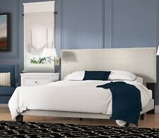 Queen Size Bed Frame With Nailhead Headboard Beige Modern Bedroom Upholstered