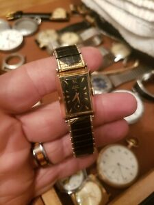 Vintage ELGIN DELUXE gold filled, black dial,  Wrist Watch RARE DIAL WORKING