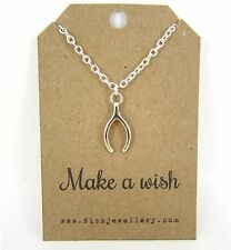 """""""Make A Wish"""" Rose Gold Wish Bone Silver Plated 18"""" Necklace Message Card Gift"""