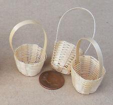 1:12 SCALA 3 fatto a mano 2.5 cm di diametro cesti di bambù Casa delle Bambole Accessorio G