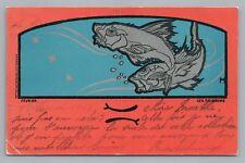 "Pisces—Art Nouveau Astrology RARE ANTIQUE ""Poissons"" February French CPA 1903"