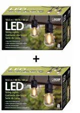 2pcs Feit Outdoor Weatherproof String Light Set 48ft 48 LED Sockets Bulbs Patio
