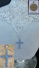 "SWAROVSKI Blue Sapphire CROSS NECKLACE Platinum/Sterling 20"" Chain"