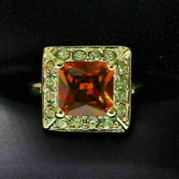 Sparkling Princess Red Ruby Ring Women Engagement Jewelry 14K Rose Gold Plated