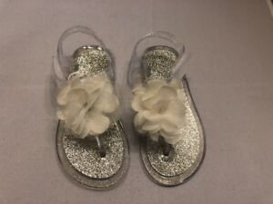 Girls Children Sandals Shoes Size 8 White Clear Glitter Jelly Baby