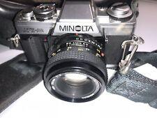 Minolta XG-M 35mm SLR Film Camera w/ 50mm Lens, BAG, STRAPS, CAPS