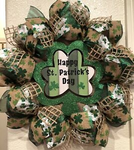 "FARMHOUSE ST PATRICK'S DAY 🍀 Wreath BURLAP Deco Mesh SHAMROCK SIGN 22"" x 22"""