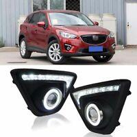 DRL LED+COB CCFL Angel Eyes Projector Lens Foglights Fit For Mazda CX-5 2013-15