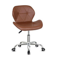 Swivel PU Leather Cushioned Chair Computer Office Desk Studio Salon Barber Brown