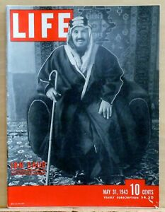 Life Magazine - May 31, 1943 - King Ibn Saud photo cover - Walt Disney Gremlins