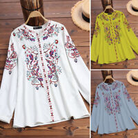 ZANZEA Women Lantern Sleeve Shirt Tops V Neck Loose Casual Ethnic Blouse Plus