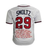 John Smoltz Signed Pro Style Stat Baseball Jersey White (JSA)