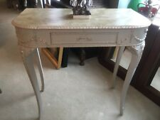 Painted And Faux Marbled 1950s Side Table, Consol Table With Gilt Decoration