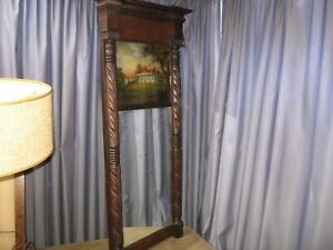 ANTIQUIE SPLIT COLUMN FEDERAL MIRROR 20 x 41 REVERSE PAINTING CARVED MAHOGANY