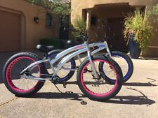 Aluminum Fat Tire Beach Cruiser 🌴 Sikk Bicycle 3 SPD Alloy w Pink Wheels