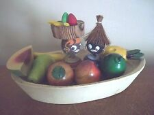 Vtg HAND CARVED banana boat AFRICAN CARIBBEAN souvenir WOOD fruit BLACK DOLLS