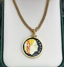 Vintage Hand Painted 1941 Twenty Centissimi Italia Coin Pendant Necklace