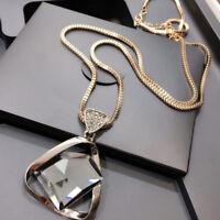 Women Geometry Crystal Rhinestone Pendant Long Sweater Chain Fashion Necklace