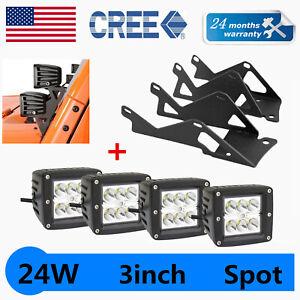 "4X 3"" 24W LED Work Light Cube Pod+Mounting Bracket Fits 2007~18 Jeep Wrangler JK"