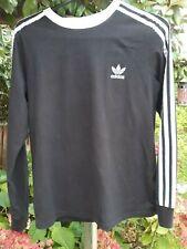 Adidas Long Sleeve Black Three Stripe T Shirt Top Size 12