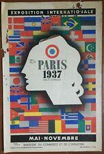 Affiche ancienne PARIS 1937 Exposition Internationale Arts Techniques JEAN CARLU
